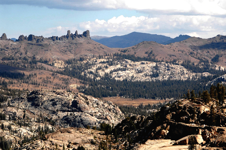 Cooper Meadow at the edge of the Emigrant Wilderness with Three Chimneys in the Background.