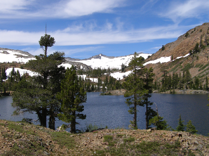 A few trees decorate the near side of a beautiful blue lake.  Beyond are a series of snowy hills and mountains.