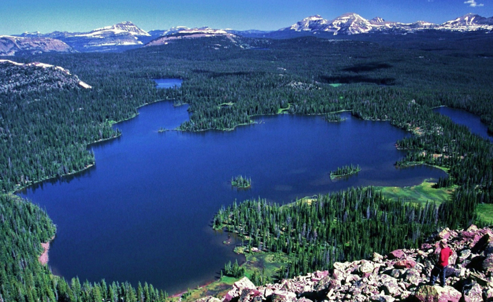 Standing on a steep mountain slope a hiker views a dark blue lake surrounded by forest and mountains in every direction.