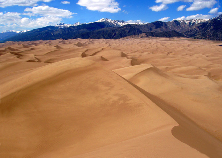 Wind-sculpted waves of golden sand stretch towards the horizon where tall snowcapped mountains rise towards the blue sky.