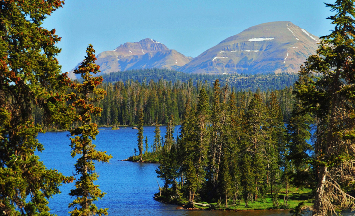 Parting trees reveal a brilliant blue lake surrounded by forest with two mountain peaks in the background.