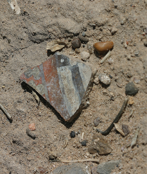 An extreme close-up of a Piro Indian Pottery Shard in the Little San Pasqual Wilderness Unit.