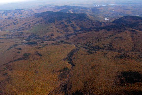 An aerial view of the Wild River Wilderness. The landscape is bursting with autumn greens, reds, yellows, and oranges, creating a kaleidoscope of color.