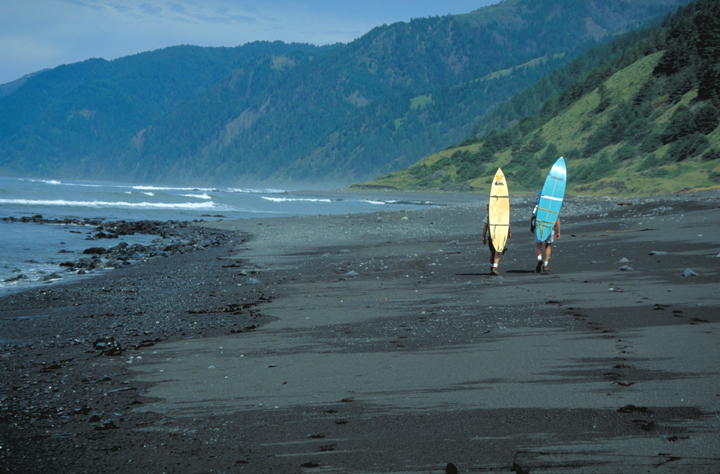 Two surfers--boards on their backs--stroll along a black sands beach.