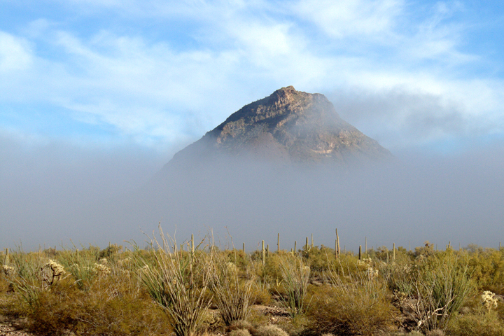 A solid gray wall of fog obscures the bottom of a distant cliff.