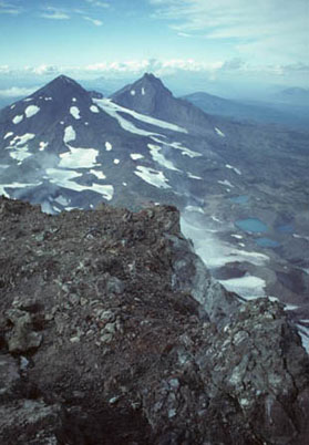 This photo captures the Middle Sister and the North Siter peaks. The photo was taken from the South Sister peak.