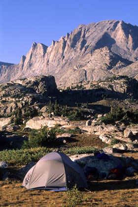 A campsite set up below the Fremont Peak in late afternoon.