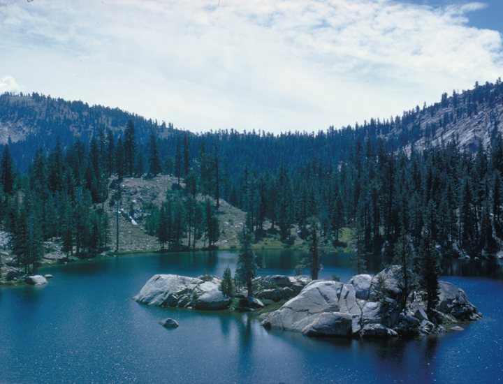 A rocky series of islands sits in the center of a blue lake.  The forest around the lake is sparse but beautiful.