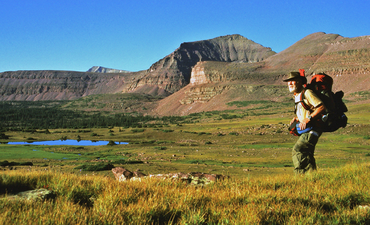 A hiker crossing green alpine vegetation with large rocky sloped mountains rising in the background.