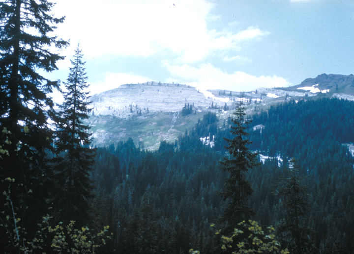The snow only remains on the highest peaks; the trees of the lower areas are free of it, showing off their greenery instead.