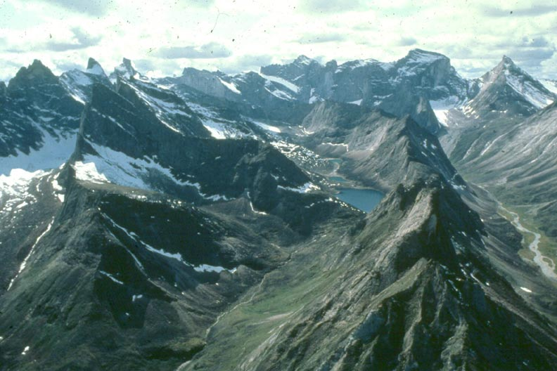 An aerial view over massive Alaskan mountains, rising like rows of jagged teeth from the green valley floor far below.