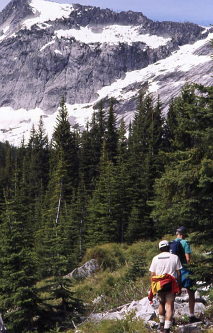 Two hikers passing through a small forest clearing. A high rock face laced with snow, looms above the trees ahead.