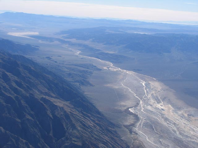 A aerial shot of a huge ravine in the Death Valley Wilderness.