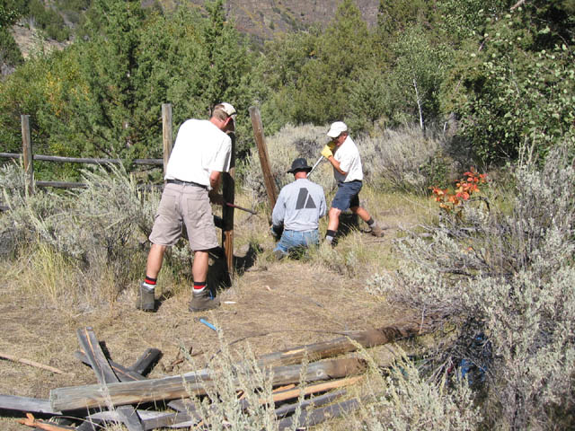 Three people work with hand tools, to remove sections of fencing still standing, surrounded by dense brush.
