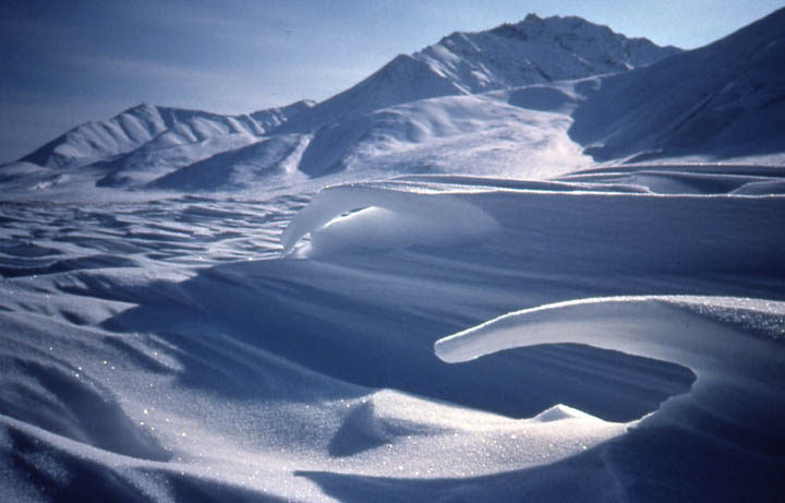 Curved, wind-blown snow formations form on a flat snow field in front of mountains.
