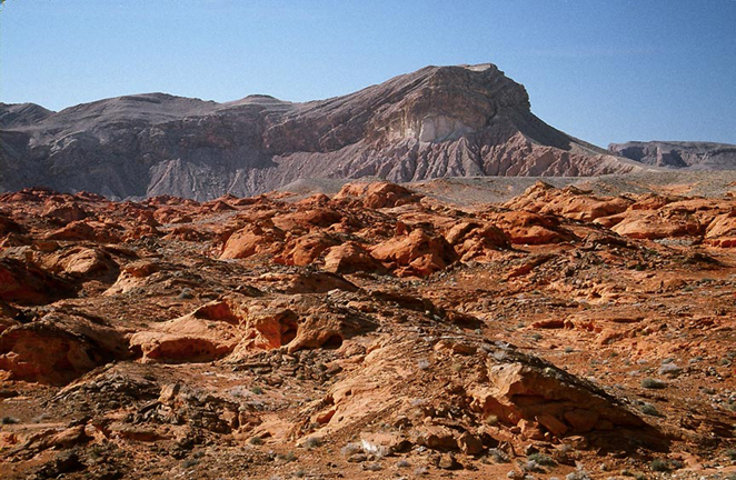 A reddish-brown rocky landscape dotted with sagebrush. A rocky plateau sits in the far background.