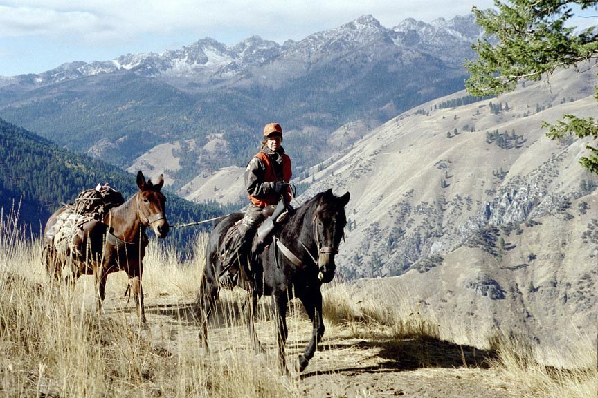 A man riding a black horse leading a pack horse up a narrow trail, looking back out over a large mountain valley.