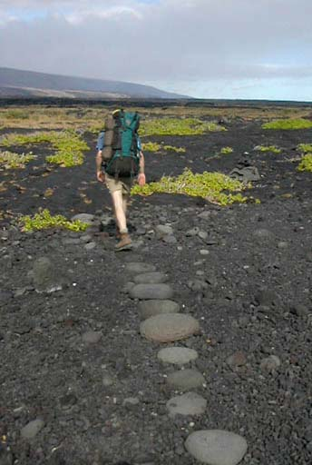 A lone backpacker walks on a path of round lava stones that winds through a black lava field in Hawaii.