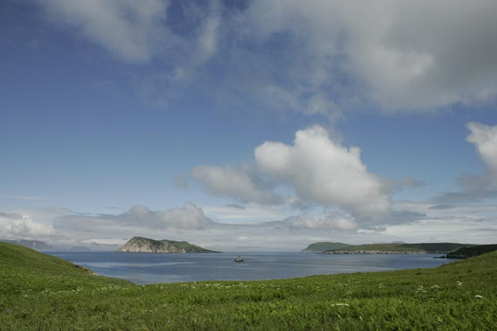 This low shot of Semidi Island, captures the lively green grass of Chowiet Island and the giant tufts of clouds and the sheen of ocean water surrounding Semidi Island.