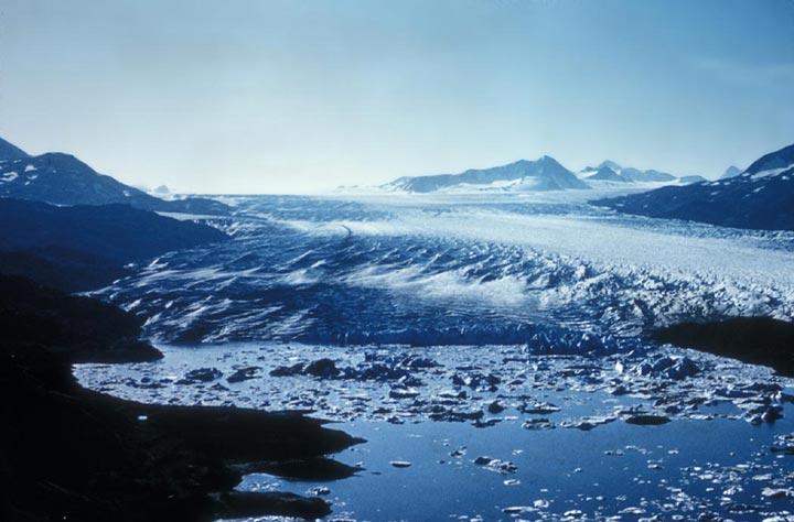 Tustumena Glacier ends in Iceberg Lake.