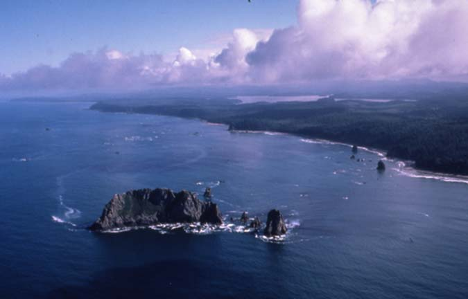 An aerial view of a small jagged rock island, near a long forested coastline.