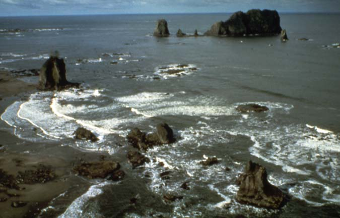 Rocky outcroppings and jagged rock islands in the water along a sandy beach.