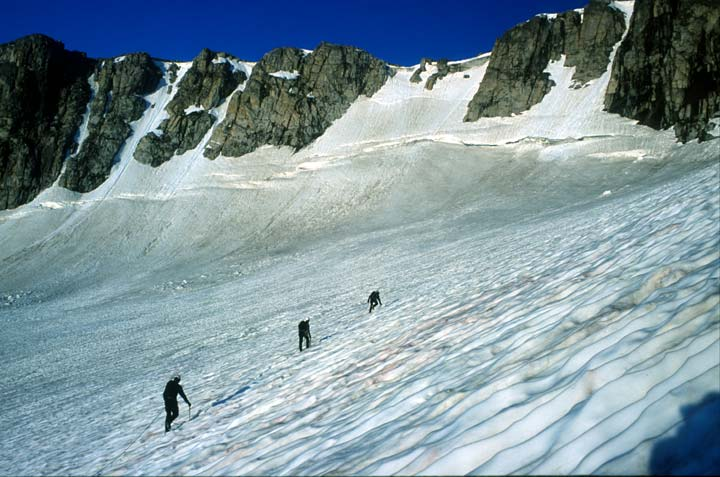 Three climbers traversing a massive snowfield, towards a high rock wall in the distance.