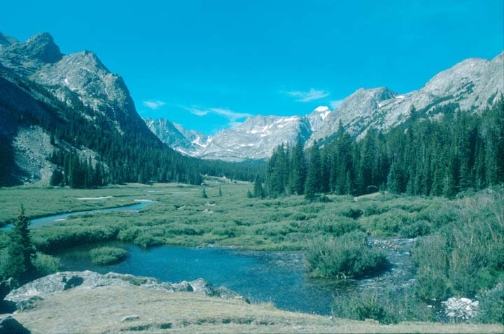 A small creek bordered by green grass, flowing through a narrow forested valley, with high rocky peaks rising on all sides.