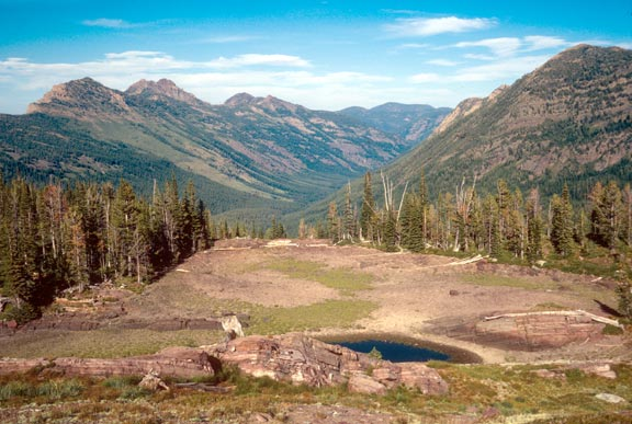 A small pond on an alpine step surrounded by low trees, above a large forested valley bordered by jagged mountains.