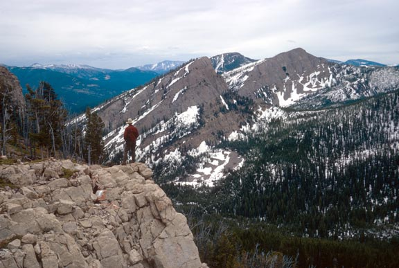A person in a red jacket standing at the edge of a point, overlooking a forested valley below, and rocky faces laced with snow beyond.