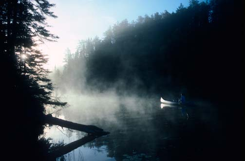 A mystical scene of a silver canoe paddling out of the shadows on the mirror surface of a mist-covered lake.