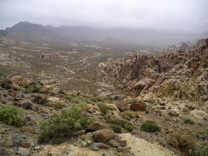 The slope down into the desert valley is rocky, and the distance is obscured by fog.