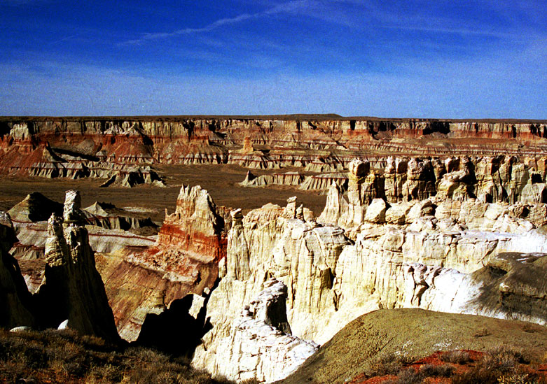 A foreign landscape of white sandstone pinnacles with red striations, protruding from an empty valley floor.