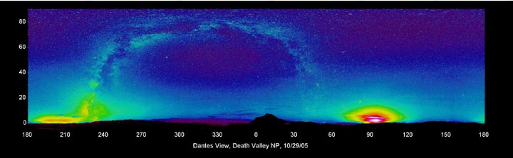 Photograph depicting light pollution over the night sky in the Death Valley