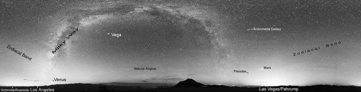 Night landscape showing light pollution.