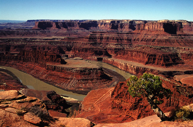 A dark brown river winds like a hairpin through a bright brick-red canyon.