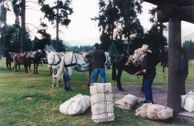 Two men wearing cowboy hats loading packages onto a string of pack horses.