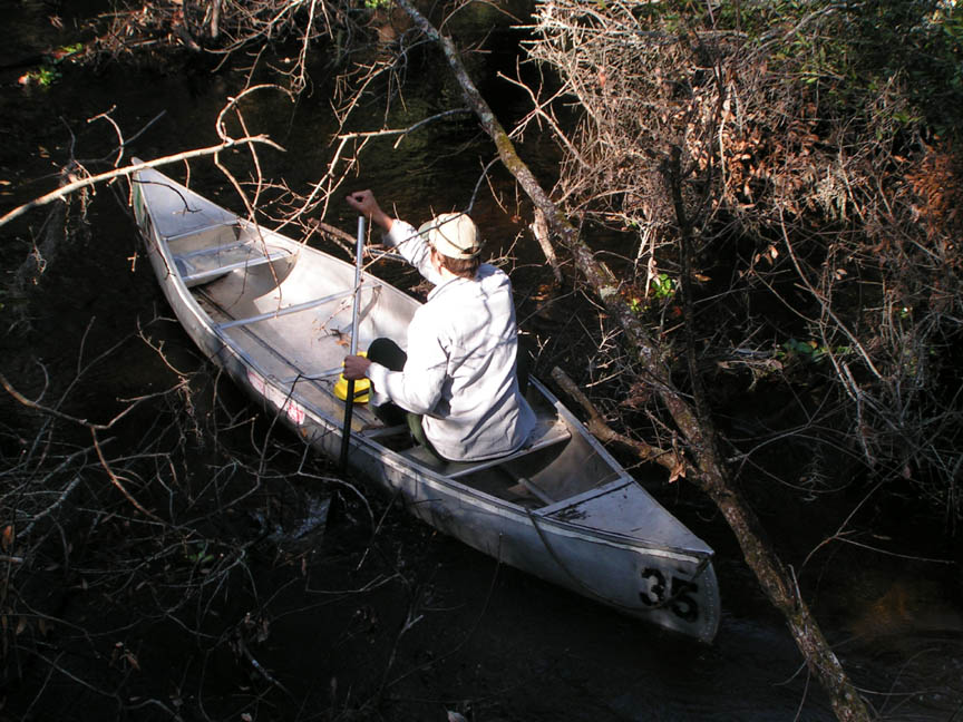 A man paddles a silver canoe through a narrow forest waterway.