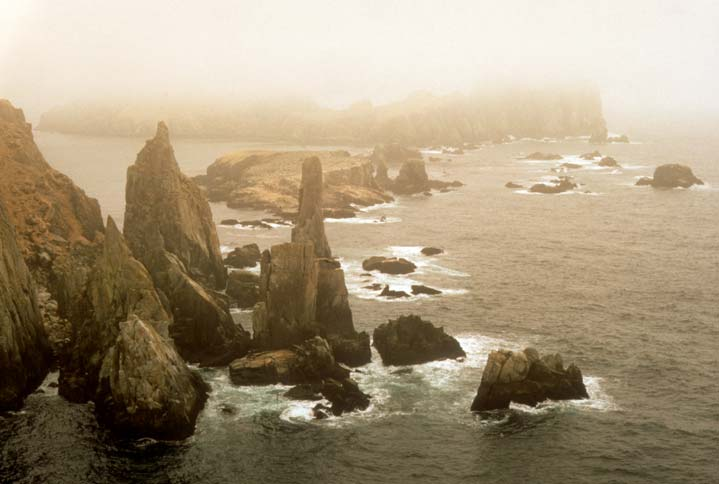 An eerie image of a rocky coastline, tall rock pinnacles jutting from the foaming water, barely visible through a veil of fog.
