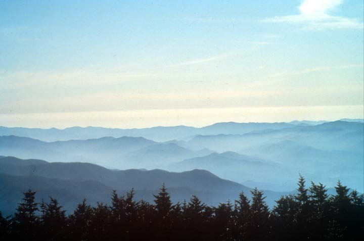 Looking out over a ridge of trees, to low mountains rolling like waves, away into the hazy distance.