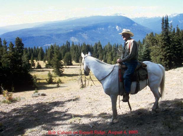 A man in a cowboy hat riding a white horse through open forest, overlooking a massive valley in the distance.