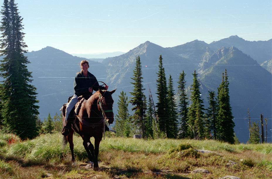 A woman sitting on a brown horse overlooking a large valley, large mountains rise in the background.