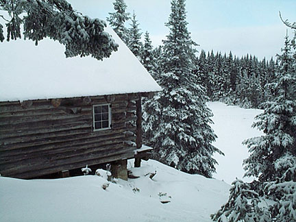 A cabin covered in winter snow