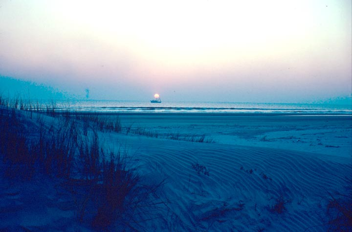 A pink sun setting over the ocean in the background, with sand dunes drenched in blue shadows in the foreground.