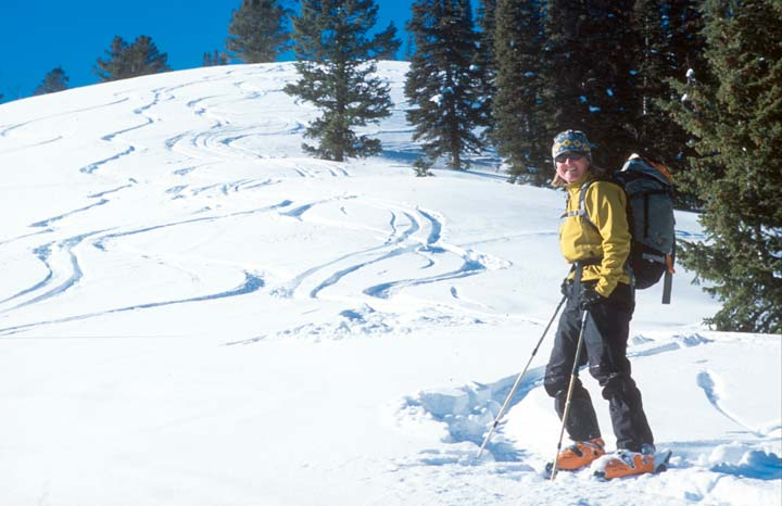 A woman in a yellow jacket, at the base of a snow-covered forest slope covered in sweeping ski tracks.