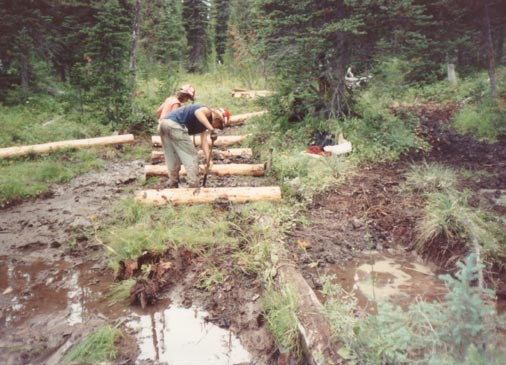 Two workers setting logs in an exceptionally muddy section of trail.