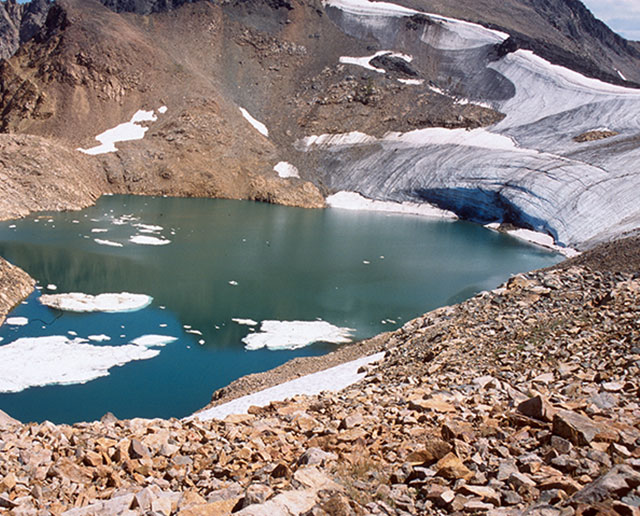 Recent photo of a glacier showing it has receded
